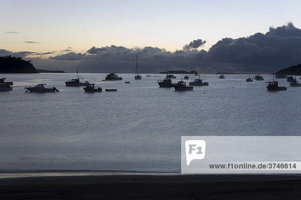 Boote im Morgengrauen  Halfmoon Bay  Steward Island  Neuseeland