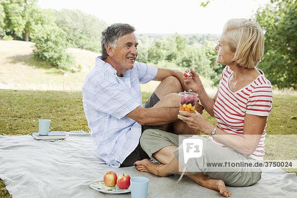 Reife Paare beim Picknick im Park