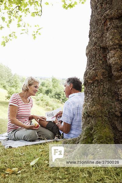 Reife Paare bei Kreuzworträtseln im Park