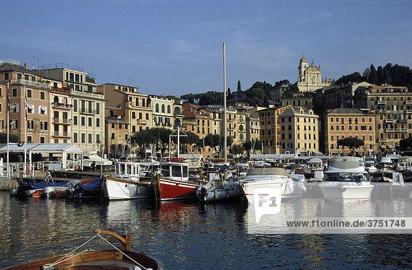 Blick auf Hafen mit Booten und Stadt  S. Margherita  Ligurien  Riviera  Italien