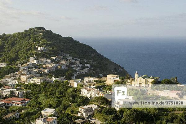 Landschaft mit Häusern und Meer  Insel Ischia  Golf von Neapel  Kampanien  Italien