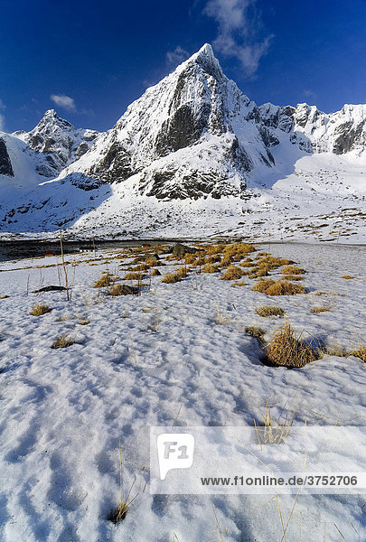 Berge in Winterlandschaft auf den Lofoten  Norwegen  Skandinavien