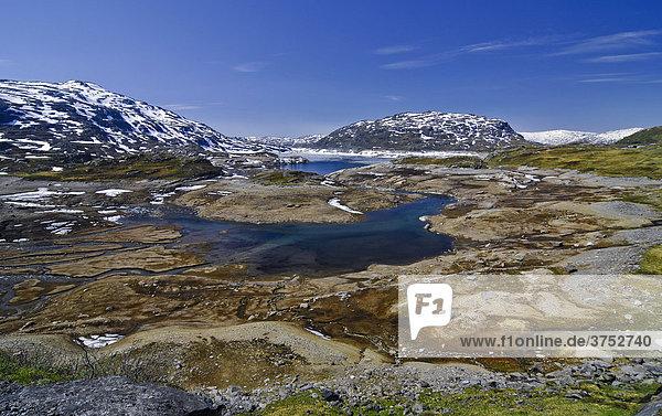 See auf felsigem Hochplateau  Telemark  Norwegen