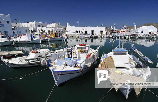 Fishing boats anchored in the port of Naoussa  Paros  Cyclades  Greece  Europe