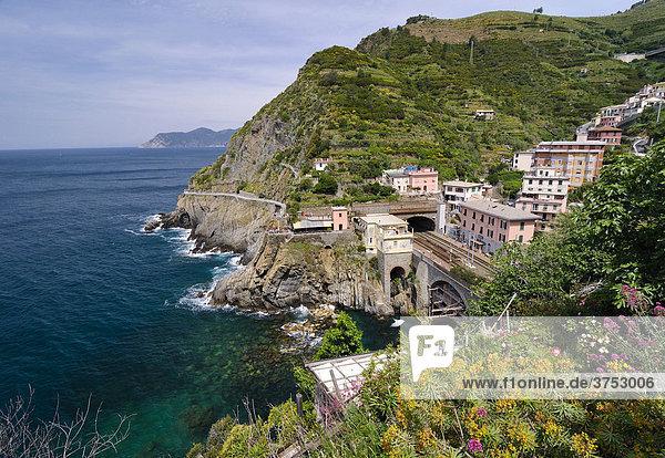 View over Riomaggiore  Liguria  Cinque Terre  Italy  Europe