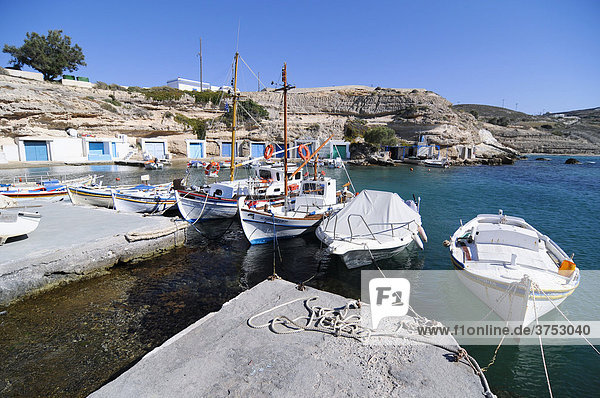 Boats in the small fishing village of Milos  Cyclades  Greece  Europe
