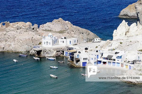 Firopotamos  small fishing port  Milos Island  Cyclades  Greece  Europe