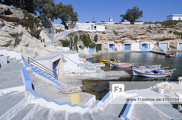 Stairs to a fishing port  Milos  Cyclades  Greece  Europe