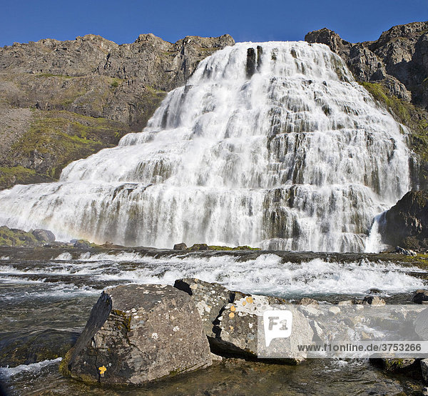 Dynjandifoss (Fjallfoss) Waterfalls  Western Fjord  Iceland  Atlantic Ocean