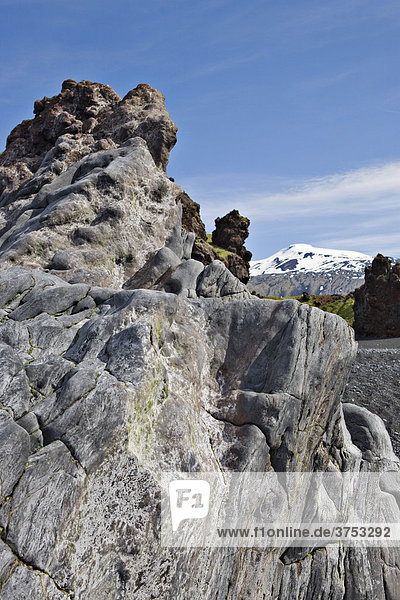 Rock formations along the coast at DjupalÛnssandur  Snaefellsness Peninsula  Iceland  Atlantic Ocean