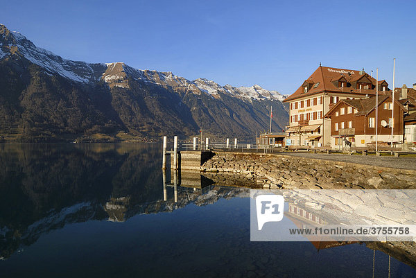 Iseltwald - the pier and the Strandhotel - Canton of Bern  Switzerland  Europe.