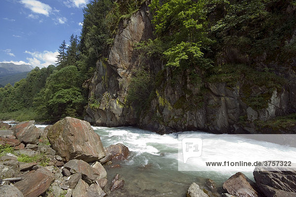 Gorge in the Defereggental Valley near Huben  East Tyrol  Austria  Europe