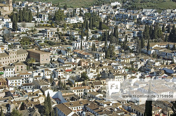 View of Albaicin  Granada  Andalusia  Spain