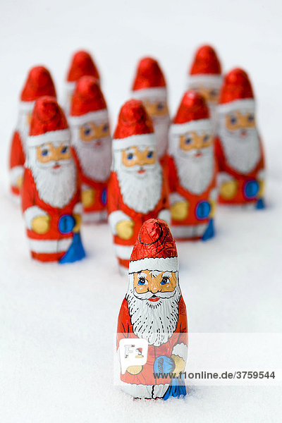 Group of chocolate Santa Clauses