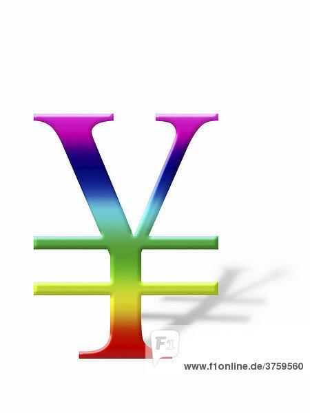 Yen sign  symbol casting a shadow  graphic