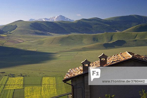 Piano Grande or Great Plain  Monti Sibillini National Park near Castelluccio  Umbria  Italy  Europe