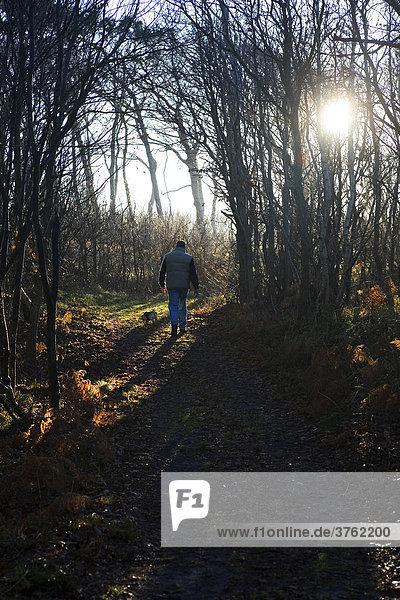 Ein Mann geht mit seinem Hund im Winter im Wald spazieren