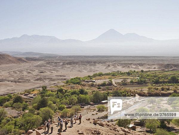 Blick auf den Ayllo mit den Bewässerungskulturen von der Inkafestung Pukara de Quitor  San Pedro de Atacama  RegiÛn de Antofagasta  Chile  Südamerika