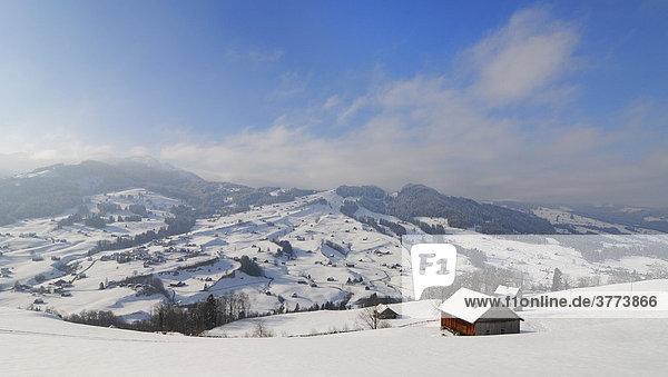 Verschneite Landschaft im Thurtal - Toggenburg  Kanton Sankt Gallen  Schweiz  Europa.
