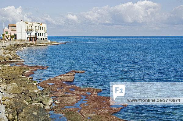 Houses near the sea  Zingara National Park  Zingara  Sicily  Italy