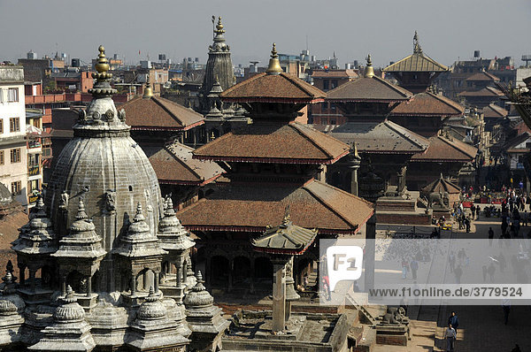 View over the roofs of temples Patan Kathmandu Nepal