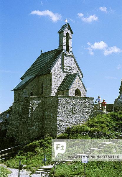 Wendelstein near Bayerischzell Upper Bavaria Germany Wendelsteinkirchlein small church on the mount Wendelstein built 1889