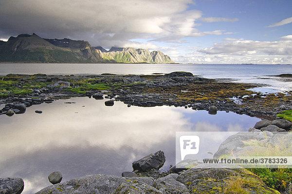 Coast landscape  Vestvagoy  Nordland  Lofoten  Norway  Scandinavia  Europe