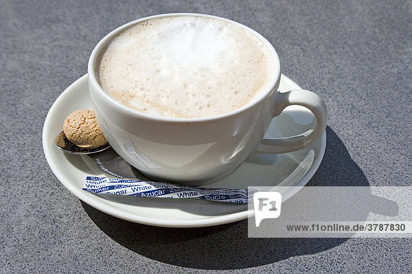 A cup of cappuccino with sugar and a little almond biscuit
