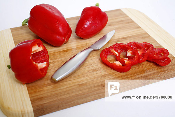 Rote Paprika  geschnitten