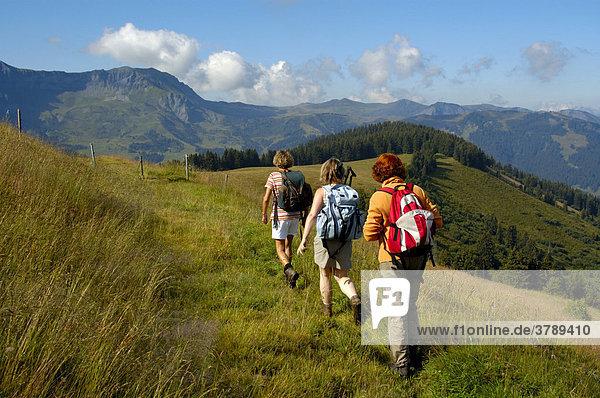 Drei Frauen bei einer Wanderung im Gebirge über Gras Mont Joux Hochsavoyen Haute-Savoie Frankreich