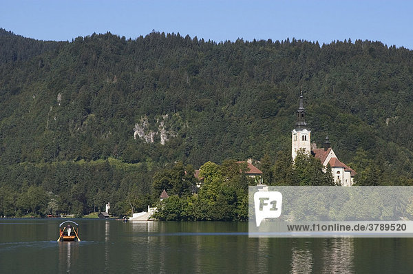 Bled at the Lake Bled with the island Otok and the church St. Mary Gorenjska Slovenia Europe