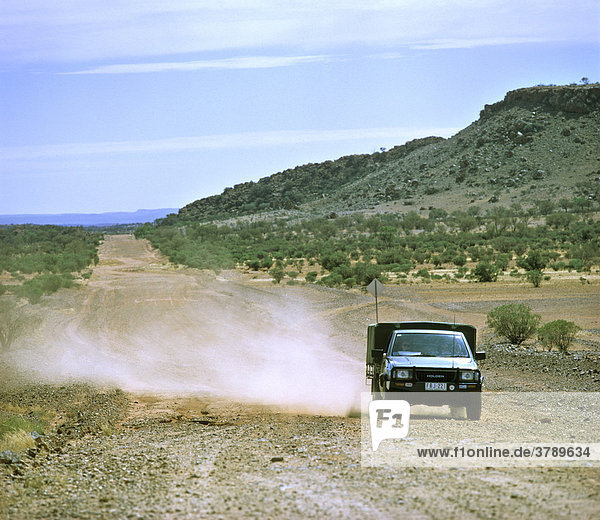 Stuart Highway Northern Territories Australia gravel road to the meteorite craters