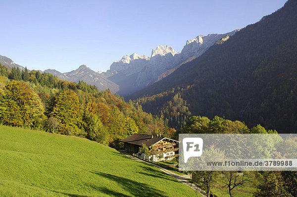 Bauernhof mit Blick zum wilden wilder Kaiser  Alpen  Tirol  Österreich