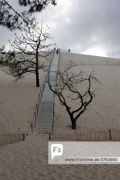 Aufgang zur Düne von Pyla Atlantikküste Frankreich