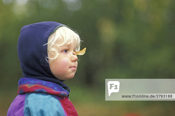 Little Boy with maple seed on his nose