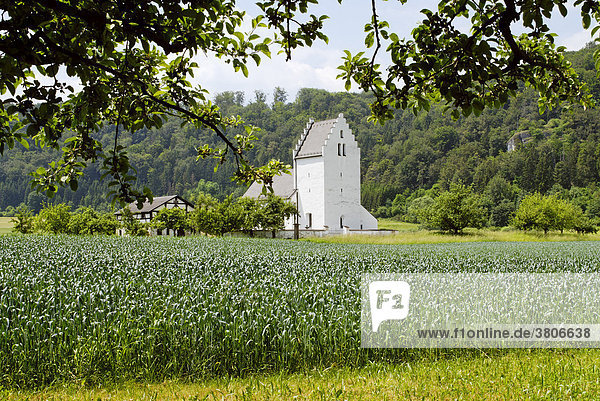 Boehming district of Eichstaett Upper Bavaria Germany daughter church St. Johannes Baptist built on the foundation walls of a roman castle