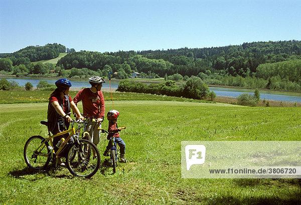 Near Thanning south of Munich Upper Bavaria Germany biker
