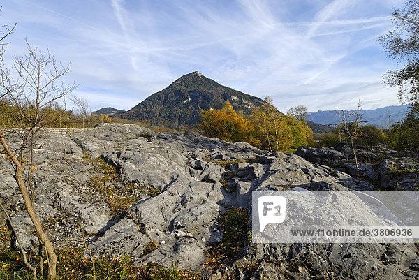 Roche moutonnÈe sheepback near Fischbach district of Rosenheim Upper Bavaria Germany in front of the Kranzhorn mountain
