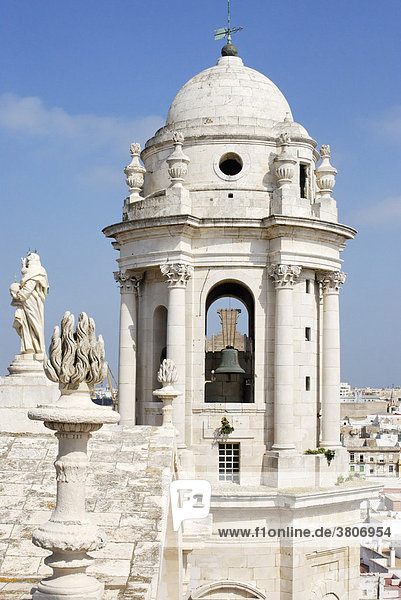 Cadiz Andalusia Spain cathedral from the north tower to the south tower above the houses of the old town