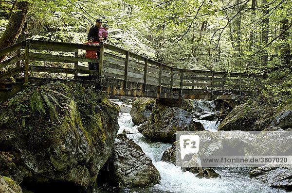 Weissbach Seisenbergklamm Canyon near Lofer Salzburger country Austria hiker