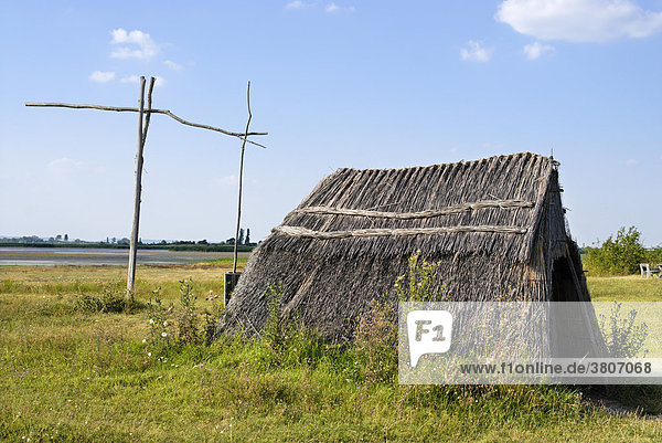 National Park Neusiedler See Lake Neusiedl Burgenland Austria draw well reed cottage