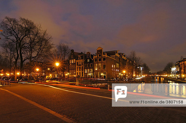 Amsterdam North Holland Netherlands evening at the Leidsegracht canal