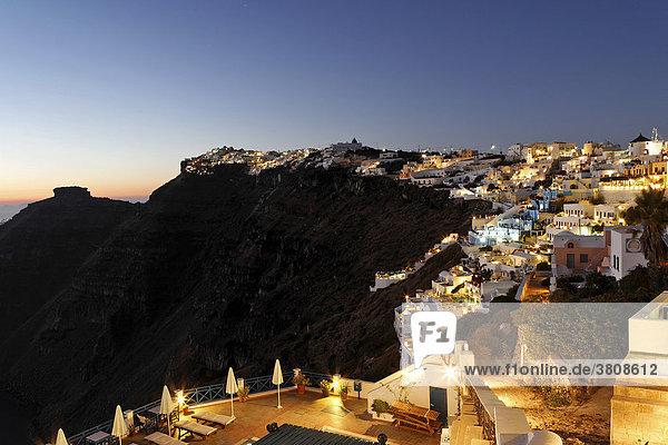 Village of Firostefani at dawn  Firostefani  Santorini  Greece