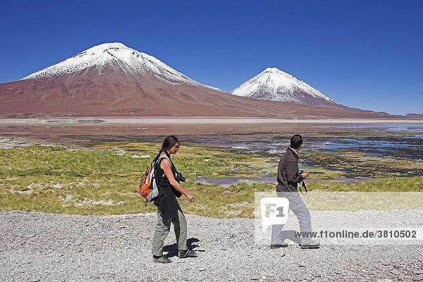 Laguna Verde und rechts Vulkan Licancabur  Bolivien an der Grenze zu Chile  Südamerika