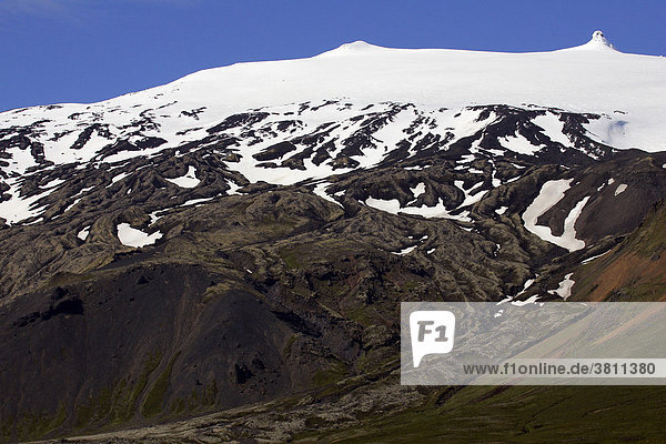 Snaefellsjoekull-mountain with glacier and solidified streams of lava in the Snaefellsjoekull national park in Iceland