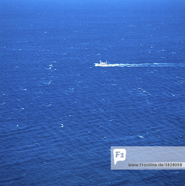 Kleines Fischerboot auf dem Meer  Algarve  Portugal