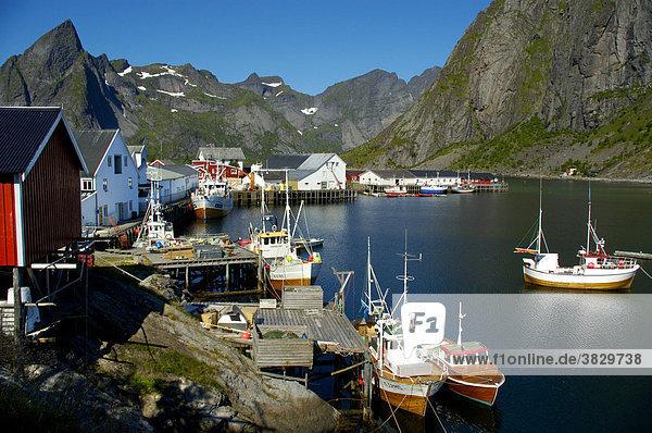 Fischerboote im malerischen Hafen von Hamnöya Moskenesöya Lofoten Norwegen