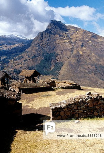 Incan ruins near the Peruvian village of Pisac- Sacred Valley  Peru