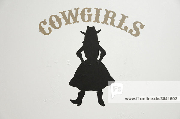 Cowgirls  Schild auf der Toilette  Visitor Center  Grand Canyon  Arizona  USA  Nordamerika