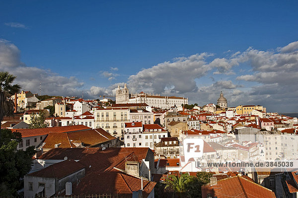 View from Miradouro Santa Luzia on the church Igreja Sao Vicente de Fora  Alfama district  Lisbon  Portugal  Europe